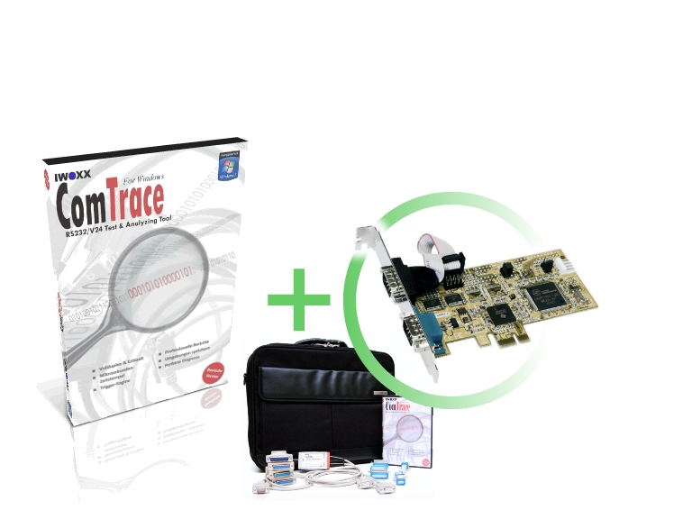 RS232 Analyser [PCIe] - Basispaket plus 2xRS232 PCIe Steckkarte